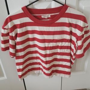 Madewell rugby red white crop top